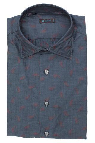 Стальная тёмно-серая рубашка с приятным еле-заметным