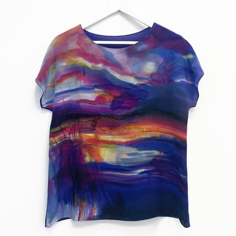 Шелковая блузка батик Моской закат