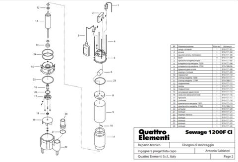 Выключатель QUATTRO ELEMENTI Sewage 1200 Ci поплавок (910-171-03)