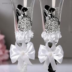 Набор свадебных бокалов «Жених и невеста», с бантами, чёрно-белый, фото 2