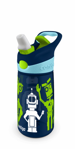 Бутылочка детская Contigo Striker (0,42 литра) роботы, синяя