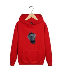 Толстовка красная 0010 с капюшоном (худи, кенгуру) и принтом Волк (Wolf)