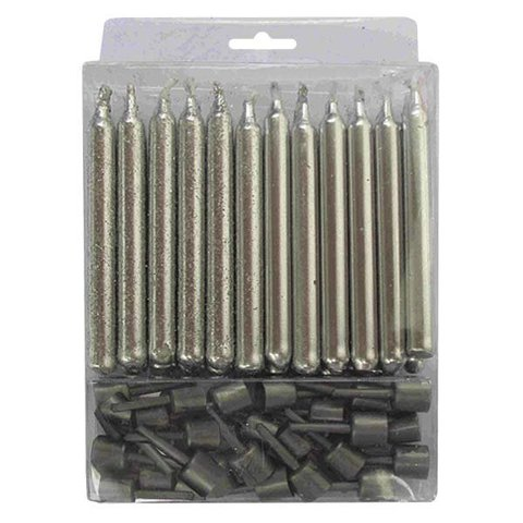 Свечи серебряные с блестками 24 шт с держателями 6 см
