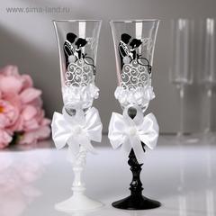Набор свадебных бокалов «Жених и невеста», с бантами, чёрно-белый, фото 3