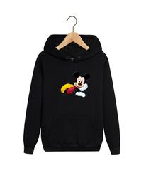Толстовка черная с капюшоном (худи, кенгуру) и принтом Микки Маус (Mickey Mouse) 001