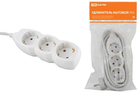 Удлинитель  бытовой У03  3 гнезда, 1,5метра, с заземлением, ПВС 3х1мм2  16А/250В TDM