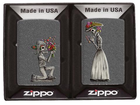 Набор Zippo Влюбленные зомби из двух зажигалок с покрытием Iron Stone, серые, матовые