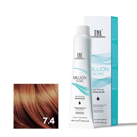Крем-краска для волос TNL Million Gloss оттенок 7.4 Блонд медный 100 мл