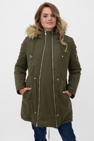 Куртка-парка 2 в 1 для беременных 11149 оливковый