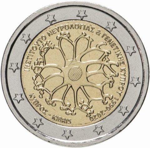 """2 евро """"30-летие Кипрского института неврологии и генетики"""" Кипр 2020 год"""