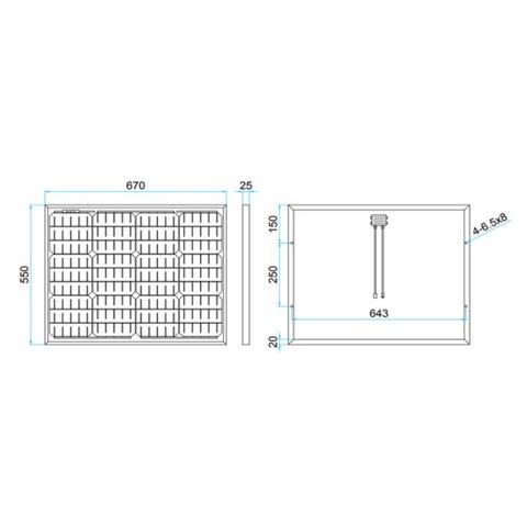 Размеры солнечной панели DELTA SM 50-12 M