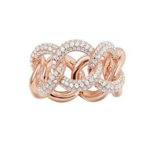 47945- Кольцо из серебра с позолотой в виде цепи в стиле  APM MONACO