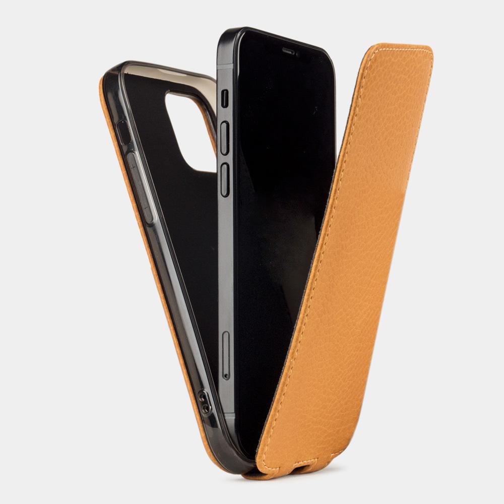 Чехол для iPhone 12 Mini из натуральной кожи теленка, золотого цвета
