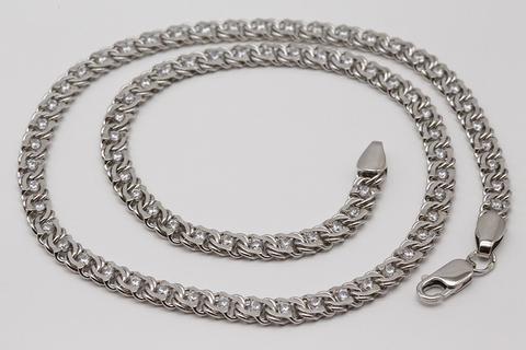 Цепочка бисмарк серебро с фианитами 530-ЦРП-0,8-430/1