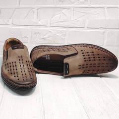 Летние мокасины туфли мужские нубук стиль кэжуал Luciano Bellini 91737-S-307 Coffee.