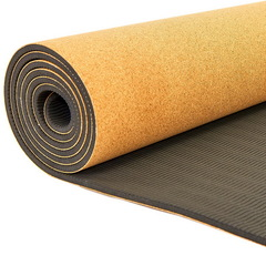 Коврик для йоги Пробковый каучуковый двухслойный 5 мм