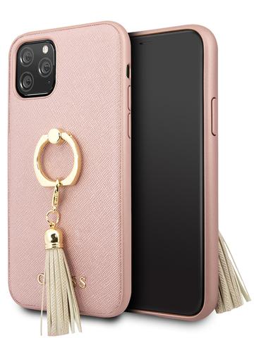 Чехол Guess Saffiano для iPhone 11 Pro | PU кольцо розовый