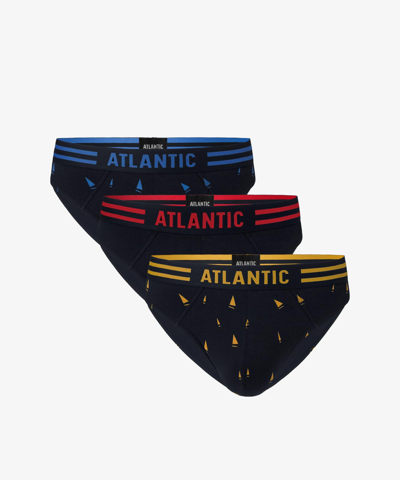 Мужские трусы слипы спорт Atlantic, набор 3 шт., хлопок, темно-синие, 3MP-098