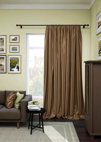 Готовая штора сатен Авери с подхватом темно-коричневый