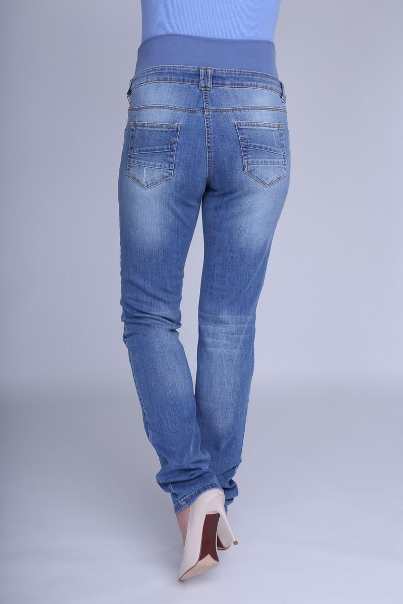 Фото джинсы для беременных MAMA`S FANTASY, зауженные, рваные элементы, широкий бандаж от магазина СкороМама, синий, размеры.