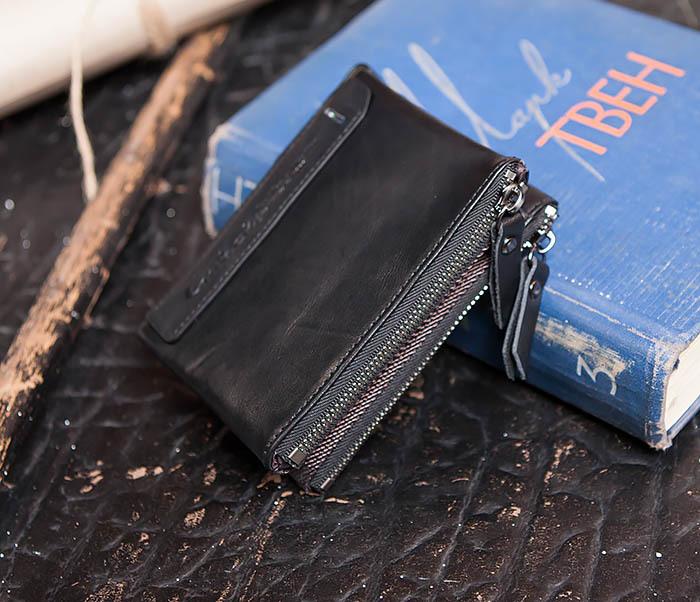 WL250-1 Черный мужской кошелек с монетницей на молнии