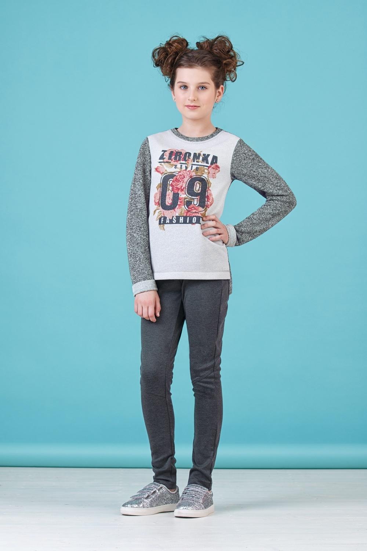 Джемпер серый для девочки 76-8010-2