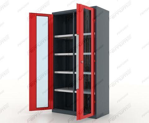 Шкаф инструментальный металлический  двери со стеклом, перегородка и 8 полок, 13.2082, серия