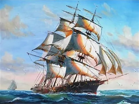 Картина раскраска по номерам 50x65 Корабль в волнующемся море (арт. RA3581)