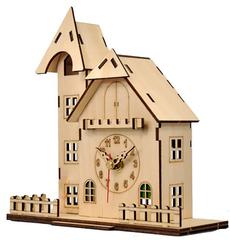 Деревянные часы-конструктор/ раскраска/ набор для творчества/ Домик с башенкой
