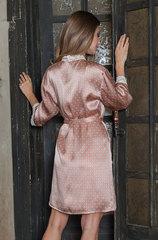 Шелковый халат персиковый