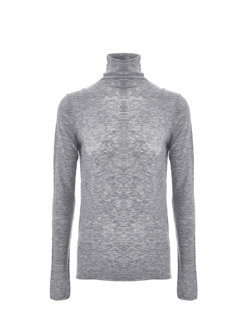 Женская водолазка цвета серый меланж из 100% шерсти - фото 1