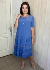Любава. Романтична комбінована сукня великих розмірів. Денім