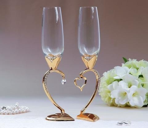 Набор свадебных бокалов «Сердце», 29 см, золото