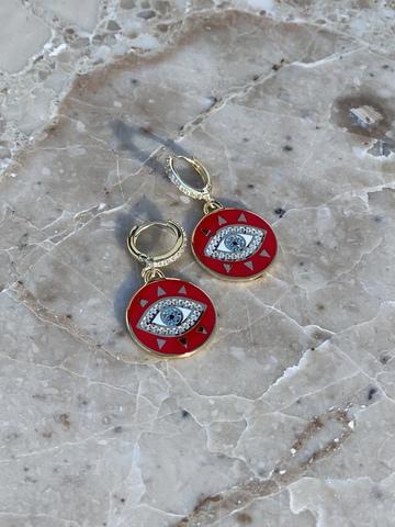 Серьги Око из позолоченного серебра, красная эмаль