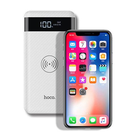 Внешний аккумулятор 2 USB с беспроводной зарядкой Qi, Hoco J11 Wireless Charger 10000 mah, белый