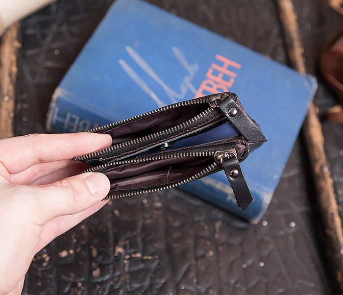 WL250-1 Черный мужской кошелек с монетницей на молнии фото 04