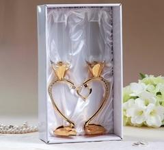 Набор свадебных бокалов «Сердце», 29 см, золото, фото 2