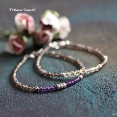 Тонкий браслет из дымчатого кварца и цитрина