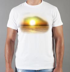 Футболка с принтом Море, Океан, волны (Sea, ocean, waves) белая 0016