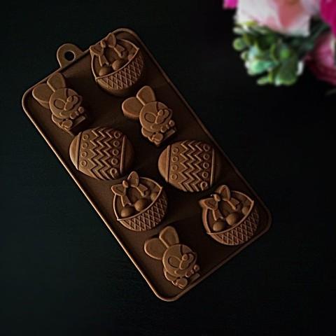 Силиконовая форма для шоколада Кролик, Корзинка, Яйцо 8в1 (40мм, 45мм)
