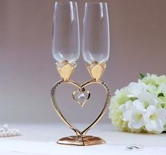 Набор свадебных бокалов «Сердце», 29 см, золото, фото 3