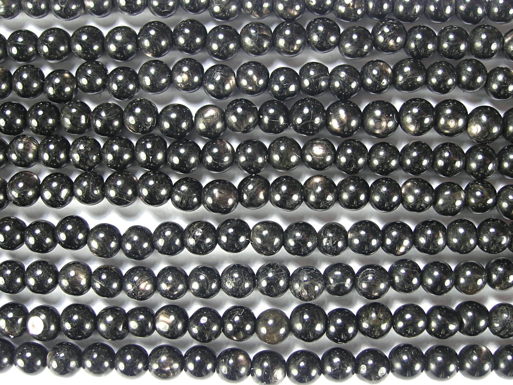 Нити бусин из гиперстена, шар гладкий 4мм (оптом)