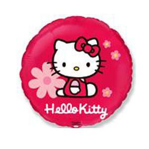 Фольгированный шар Hello Kitty в цветочках 18