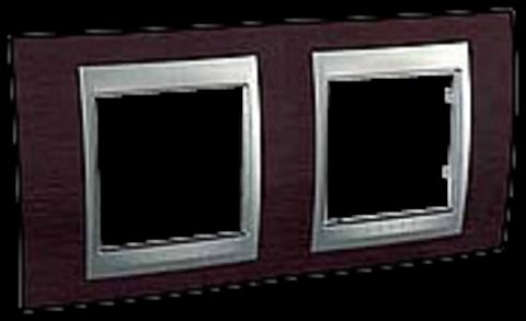 Рамка на 2 поста. Цвет Венге-алюминий. Schneider electric Unica Top. MGU66.004.0M3