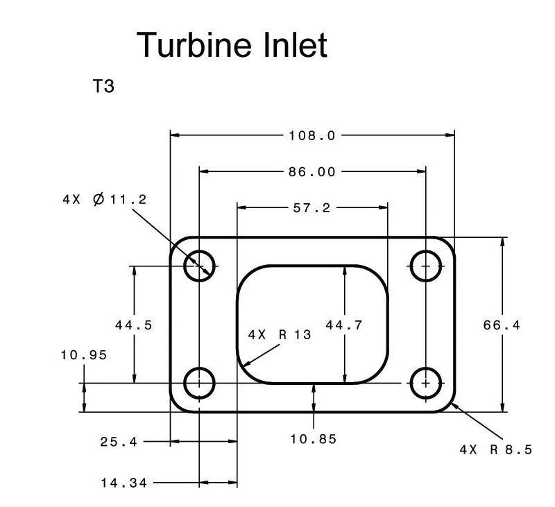 Размеры фланца T3 для турбины