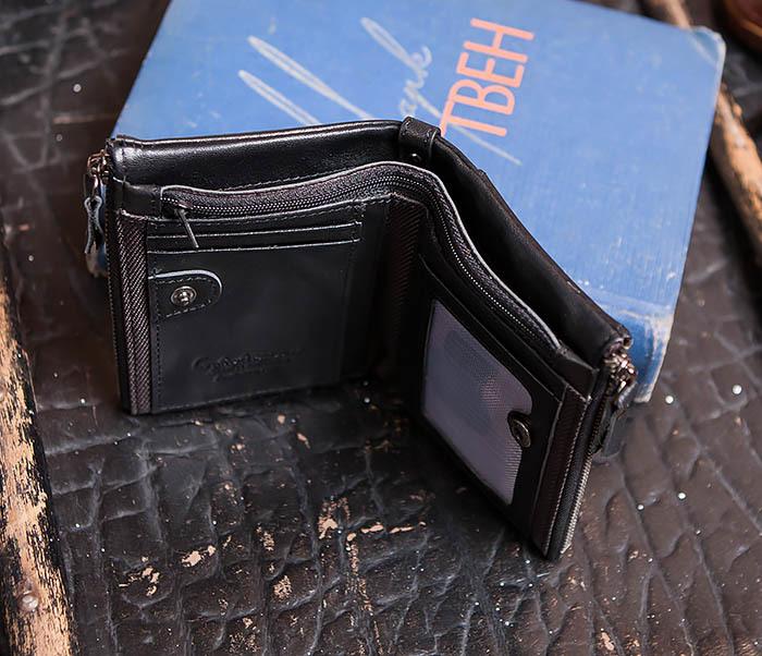 WL250-1 Черный мужской кошелек с монетницей на молнии фото 06
