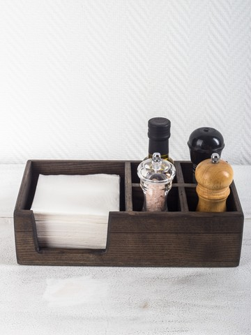 Ashwood Napkin Holder with Salt & Pepper Sections (lowered)