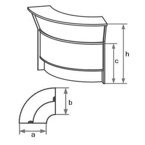 Стол-ресепшн угловой наружный (h=114 см) БОСТОН