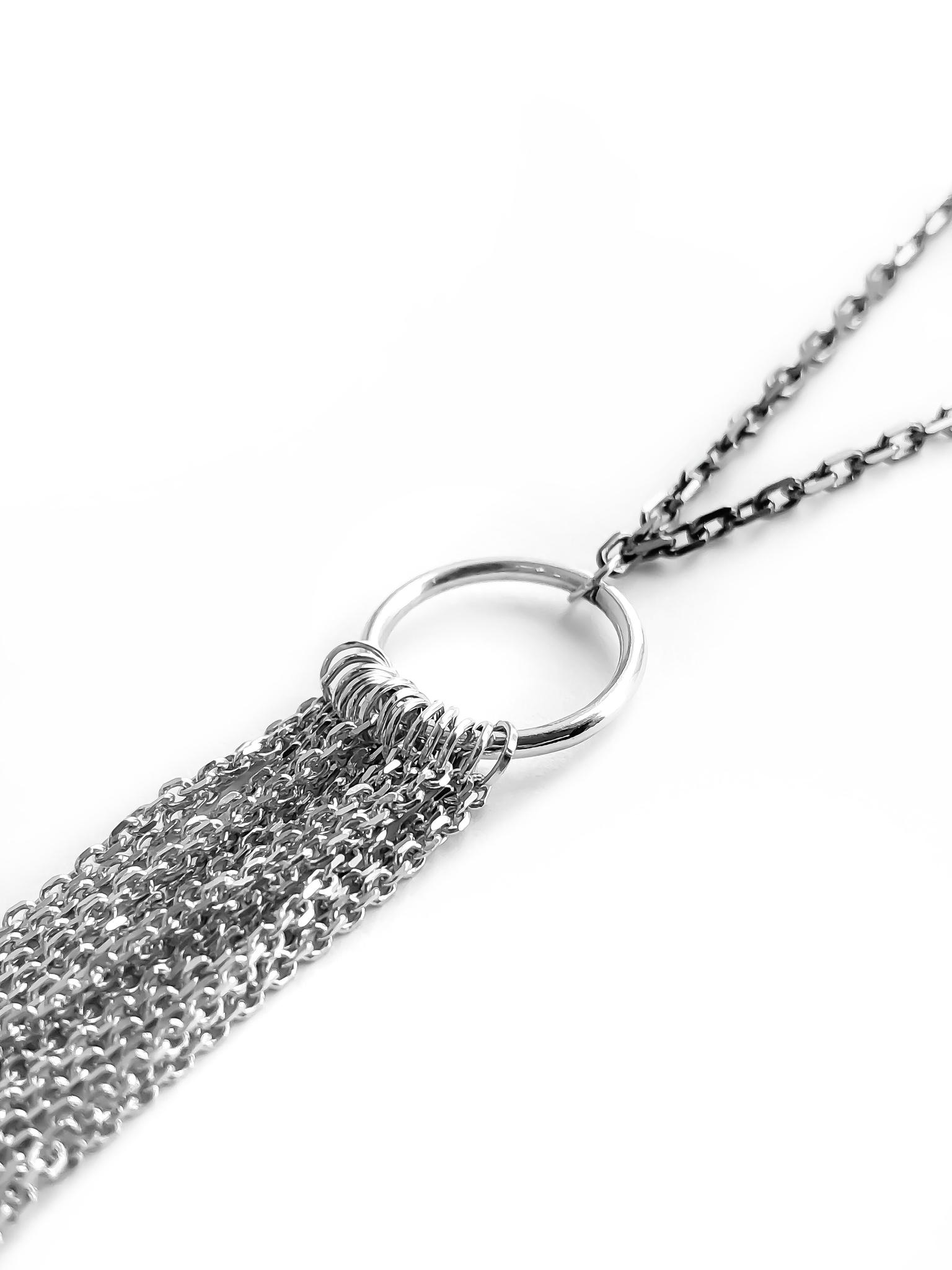 Серебряное колье-бахрома