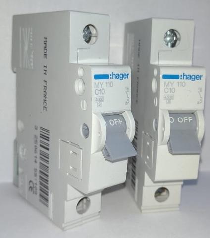 арт. MY110; Автоматический выключатель 1P 4,5kA C-10A 1M